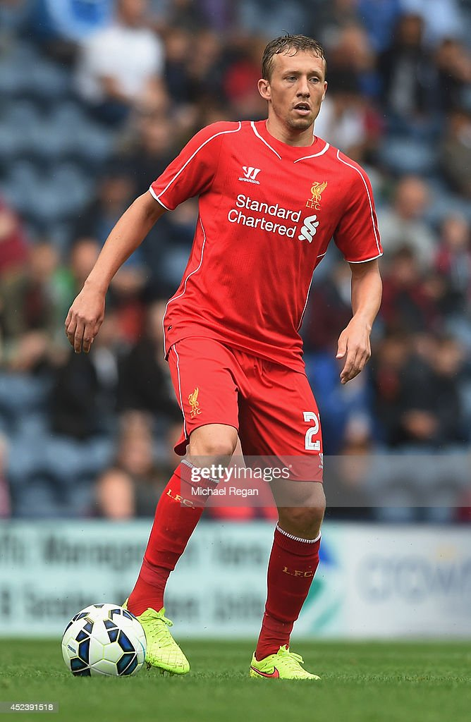 Lucas Leiva of Liverpool in action during the pre season friendly match between Preston North End and Liverpool at Deepdale on July 19, 2014 in Preston, Lancashire.