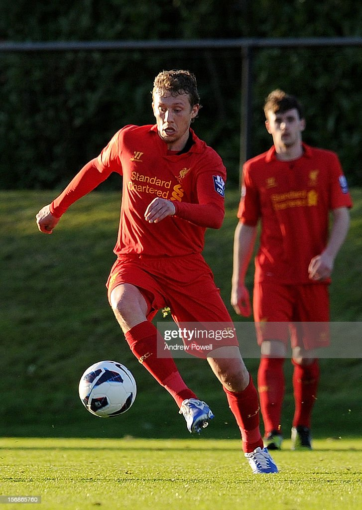 Lucas Leiva of Liverpool in action during U21 Barclays Premier League match between Liverpool U21 and Middlesbrough U21 at The Academy on November 23, 2012 in Liverpool, England.
