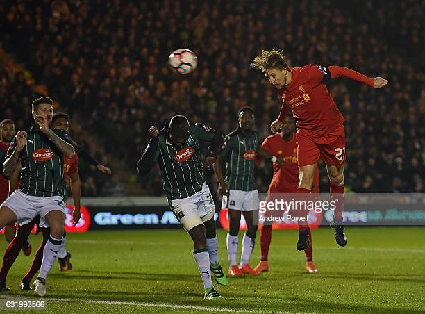 Lucas Leiva of Liverpool score the opening goal during the Emirates FA Cup Third Round replay match between Plymouth Argyle and Liverpool at Home...