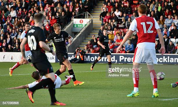 Lucas Leiva of Liverpool scores the third goal during the PreSeason Friendly match bewteen Fleetwood Town and Liverpool at Highbury Stadium on July...