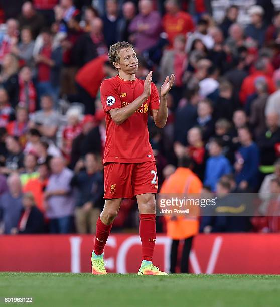 Lucas Leiva of Liverpool shows his appreciation to the fans at the end of the Premier League match between Liverpool and Leicester City at Anfield on...