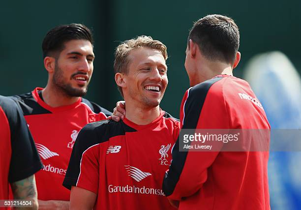 Lucas Leiva of Liverpool smiles during a training session at the Liverpool UEFA Europa League Cup Final Media Day at Melwood Training Ground on May...