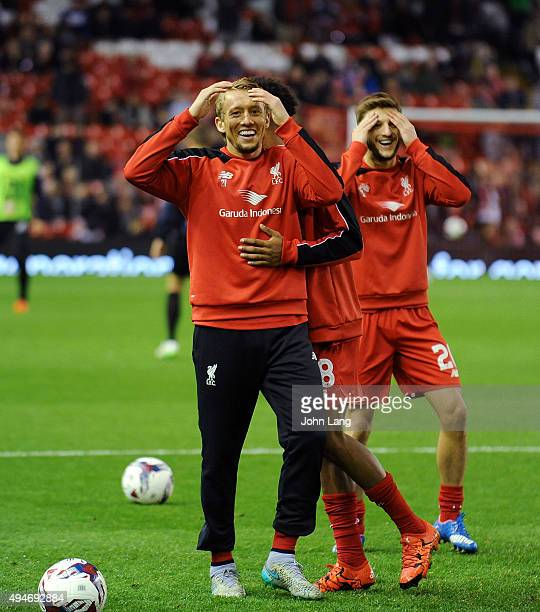 Lucas Leiva of Liverpool warms up before the Capital One Cup Fourth Round match between Liverpool and AFC Bournemouth at Anfield on October 28 2015...