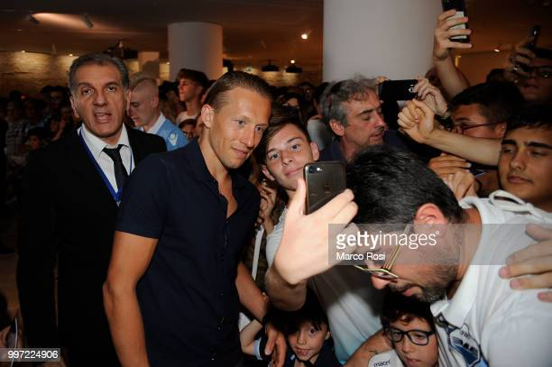 Lucas Leiva of SS Lazio attend the SS Lazio unveil new shirt for 201819 Season on July 12 2018 in Rome Italy