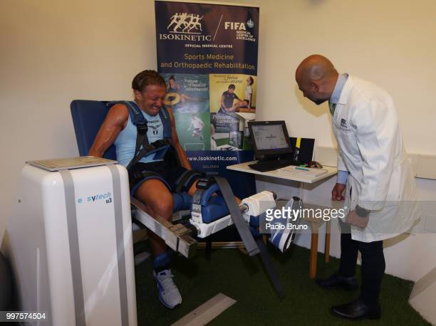 Lucas Leiva of SS Lazio attends the SS Lazio medical tests on July 13 2018 in Rome Italy
