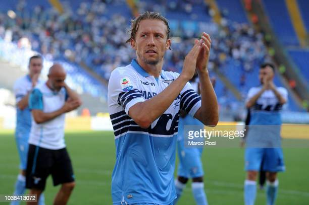 Lucas leiva of SS Lazio celebrates a winner game after the Serie A match between SS Lazio and Genoa CFC at Stadio Olimpico on September 23 2018 in...