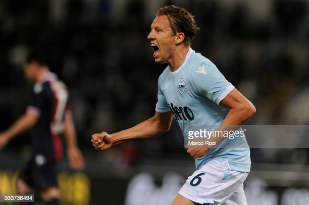 Lucas Leiva of SS Lazio celebrates their first goal during the serie A match between SS Lazio and Bologna FC at Stadio Olimpico on March 18 2018 in...
