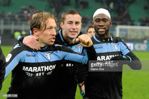 Lucas Leiva of SS Lazio celebrates with teammates their win after a penalty shootout for the Coppa Italia match between FC Internazionale and SS...
