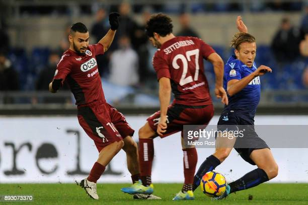 Lucas Leiva of SS Lazio compete for the ball with Andrea Settembrini of Cittadella during the TIM Cup match between SS Lazio and Cittadella on...