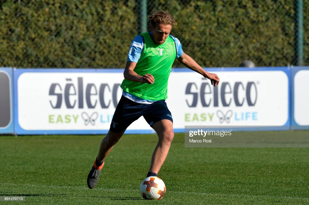 Lucas Leiva of SS Lazio during a training session on March 13, 2018 in Rome, Italy.