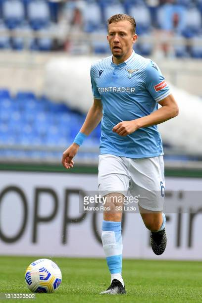Lucas Leiva of SS Lazio in action during the Serie A match between SS Lazio and Benevento Calcio at Stadio Olimpico on April 18, 2021 in Rome, Italy....