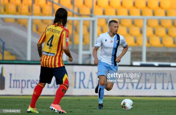 Lucas Leiva of SS Lazio in action during the Serie A match between US Lecce and SS Lazio at Stadio Via del Mare on July 07, 2020 in Lecce, Italy.