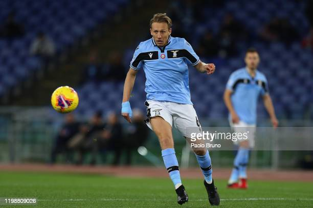 Lucas Leiva of SS Lazio looks at the ball during the Serie A match between SS Lazio and Hellas Verona at Stadio Olimpico on February 5 2020 in Rome...