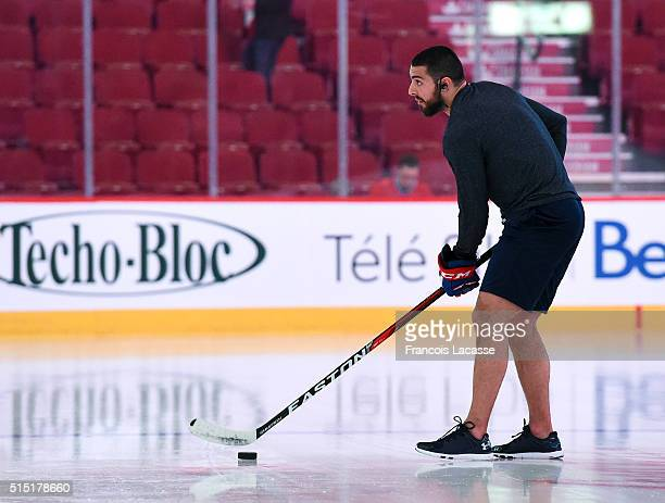 Lucas Lessio of the Montreal Canadiens prior to the NHL game against the Minnesota Wild in the NHL game at the Bell Centre on March 12 2016 in...