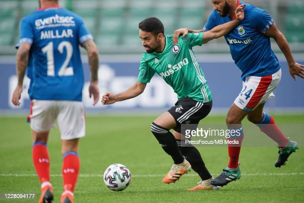 Lucas Lima Linhares Luquinhas of Legia in action during UEFA Champions League First Qualifying Round match between Legia Warsaw and Linfield at...