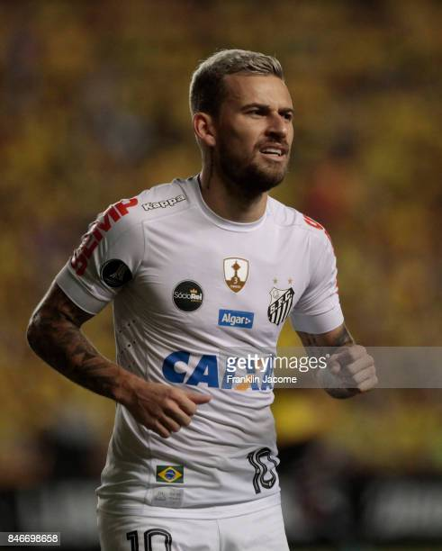 Lucas Lima looks on during the match between a first leg match between Barcelona SC and Santos as part of quarter finals of Copa CONMEBOL...