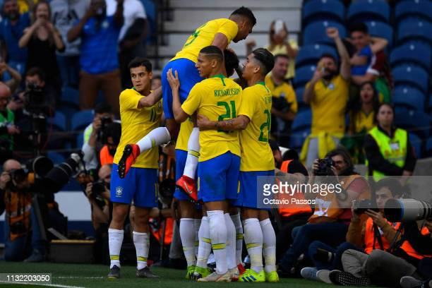 Lucas Lima of Brazil celebrates after scores the first goal during the international friendly match between Brazil and Panama at Estadio do Dragao on...
