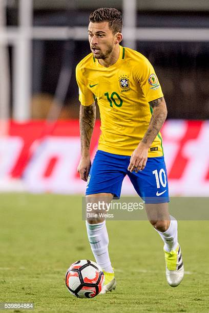 Lucas Lima of Brazil drives the ball during a group B match between Brazil and Peru at Gillette Stadium as part of Copa America Centenario US 2016 on...