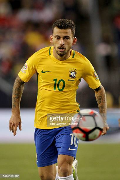 Lucas Lima of Brazil in action during the Brazil Vs Peru Group B match of the Copa America Centenario USA 2016 Tournament at Gillette Stadium on June...