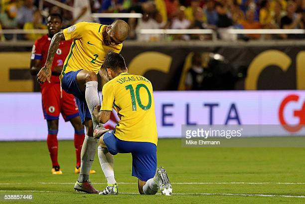 Lucas Lima of Brazil l celebrates a goal during a Group B match of the 2016 Copa America Centenario against the Haiti at Camping World Stadium on...