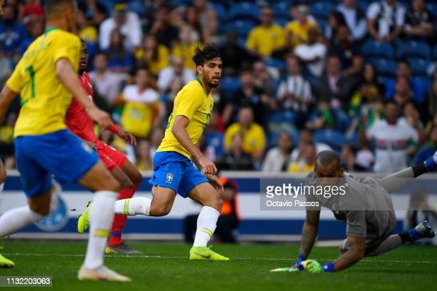 Lucas Lima of Brazil scores the first goal during the international friendly match between Brazil and Panama at Estadio do Dragao on March 23 2019 in...