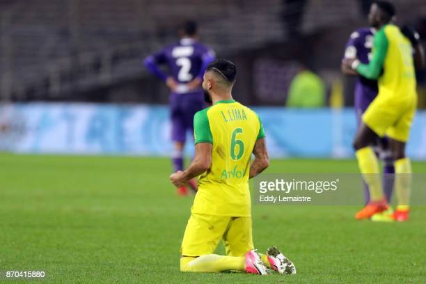 Lucas Lima of Nantes celebrates at the end of the match after defeating Toulouse during the Ligue 1 match between Nantes and Toulouse at Stade de la...