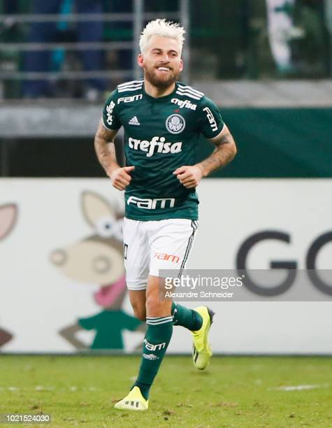 Lucas Lima of Palmeiras celebrates after scoring the first goal of his team during the match against Botafogo for the Brasileirao Series A 2018 at...