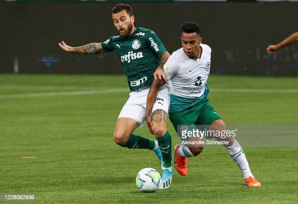 Lucas Lima of Palmeiras fights for the ball with Breno of Goias during the match between Palmeiras and Goias as part of the 2020 Brasileirao Series A...
