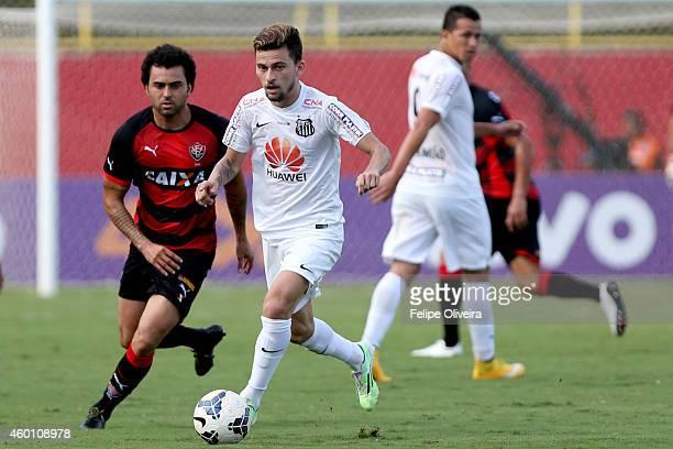 Lucas Lima of Santos battles for the ball during the match between Vitoria and Santos as part of Brasileirao Series A 2014 at Estadio Manoel Barradas...