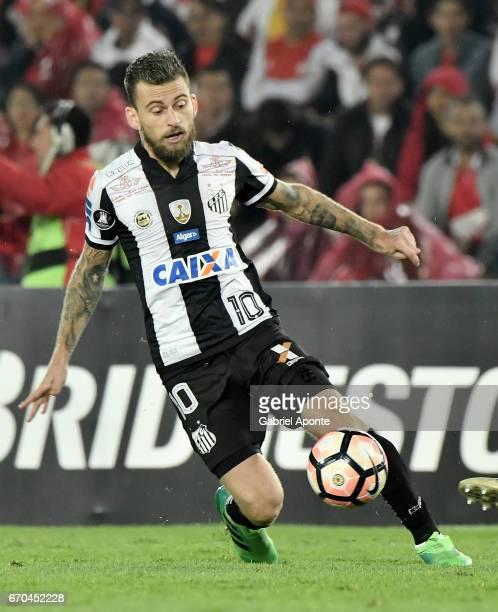 Lucas Lima of Santos drives the ball during a group stage match between Independiente Santa Fe v Santos as part of Copa CONMEBOL Libertadores...