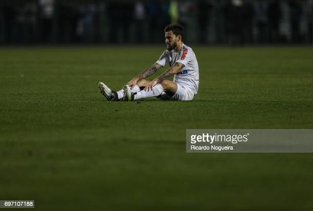 Lucas Lima of Santos goes down injured during the match between Santos and Ponte Preta as a part of Campeonato Brasileiro 2017 at Pacaembu Stadium on...