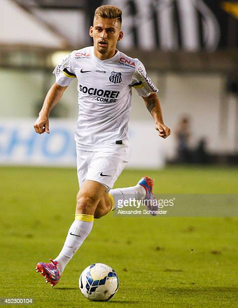 Lucas Lima of Santos in action during the match between Santos and Palmeiras for the Brazilian Series A 2014 at Vila Belmiro stadium on July 17 2014...
