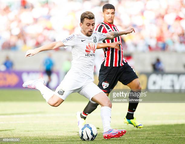 Lucas Lima of Santos in action during the match between Santos and Sao Paulo for the Brazilian Series A 2014 at Arena Pantanal on November 23 2014 in...