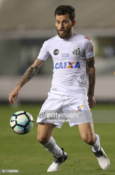 Lucas Lima of Santos in action during the match between Santos and Sao Paulo as a part of Campeonato Brasileiro 2017 at Vila Belmiro Stadium on July...