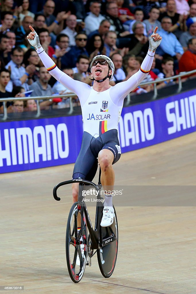 Lucas Liss of Germany wins Gold in the Mens Scratch Race Final during day two of the UCI Track Cycling World Championships at the National Velodrome on February 19, 2015 in Paris, France.