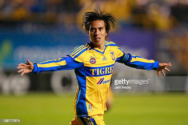 Lucas Lobos of Tigres celebrates a scored goal against San Luis during a match between San Luis v Tigres as part of the Clausura 2012 at Alfonso...