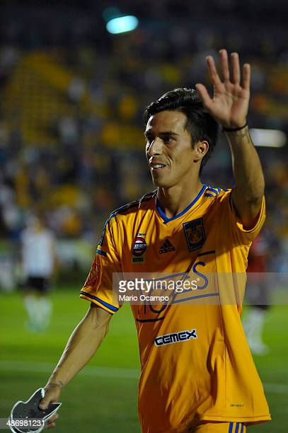 Lucas Lobos of Tigres gets off of the field after a match between Tigres UANL and Atlas as part of 17th round Clausura 2014 Liga MX at Universitario...