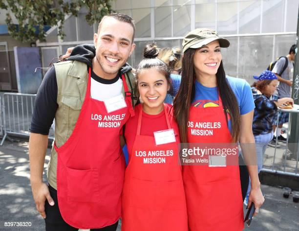 Lucas Lockwood Amber Romero and Carolina De Athey at the Los Angeles Mission's End of Summer Arts and Education Fair at Los Angeles Mission on August...