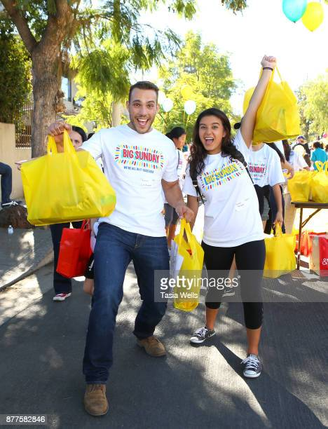 Lucas Lockwood and Amber Romero at Big Sunday's 6th Annual BIG Thanksgiving Stuffing Event at Big Sunday Headquarters on November 22 2017 in Los...
