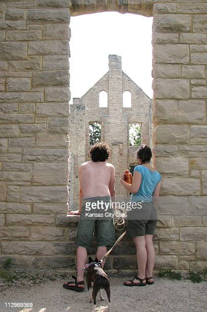 Lucas Long left and Emily Edwards of Kansas City inspect the castle's interior at Ha Ha Tonka State Park at the Lake of the Ozarks