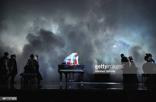 Lucas MacGregor and Oedo Kuipers perform during the 'Mozart The Musical' Rehearsal at Raimund Theater on September 11 2015 in Vienna Austria
