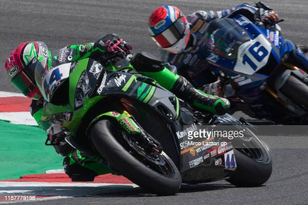 Lucas Mahias of France and Kawasaki Puccetti Racing leads the field during the Supersport race during the FIM Superbike World Championship in Misano...