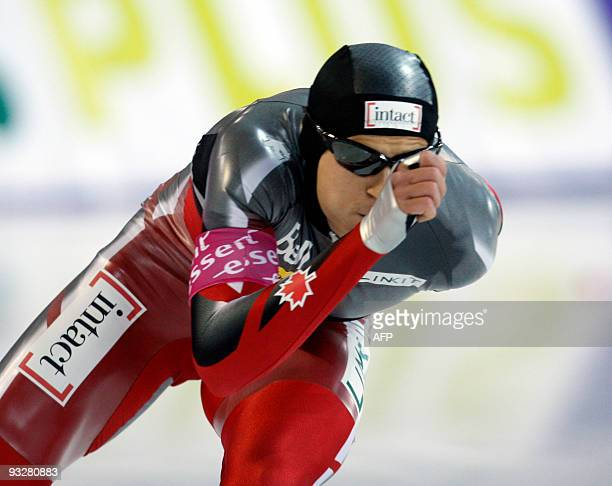 Lucas Makowsky of Canada skates in the men's 1500 metres race at the World Cup Speed Skating competition in Hamar, Norway on November 21, 2009. AFP...