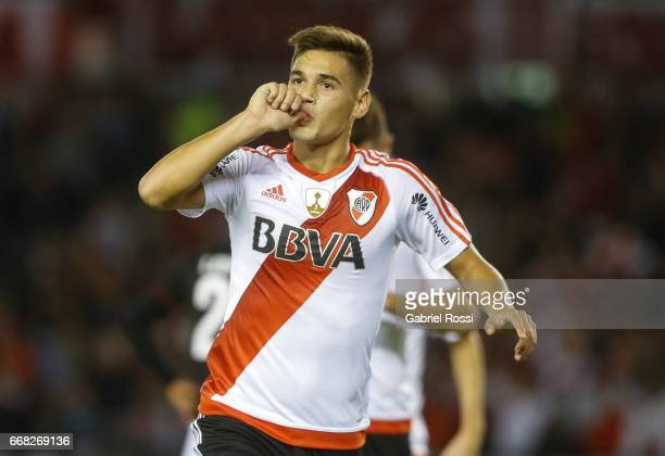 Lucas Martinez Quarta of River Plate celebrates after scoring the third goal of his team during a match between River Plate and FBC Melgar as part of...