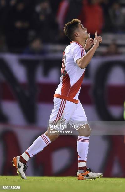 Lucas Martinez Quarta of River Plate celebrates after scoring the first goal of his team during a match between River Plate and Aldosivi as part of...