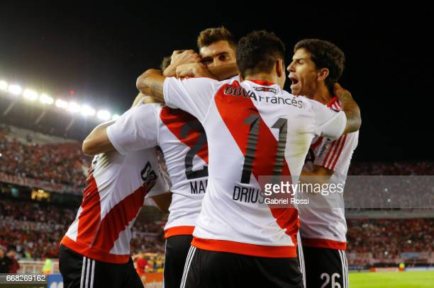 Lucas Martinez Quarta of River Plate celebrates with teammates after scoring the third goal of his team during a match between River Plate and FBC...