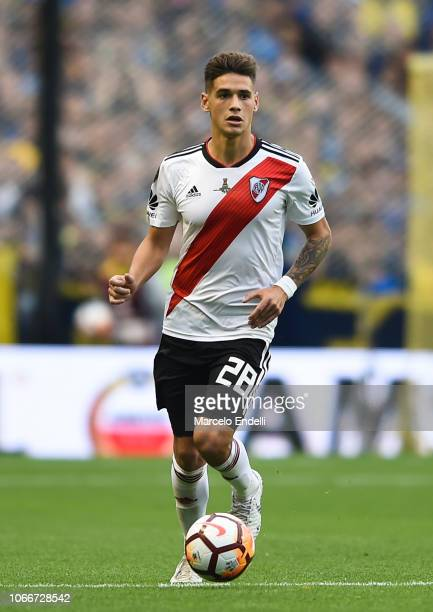 Lucas Martinez Quarta of River Plate drives the ball during the first leg match between Boca Juniors and River Plate as part of the Finals of Copa...