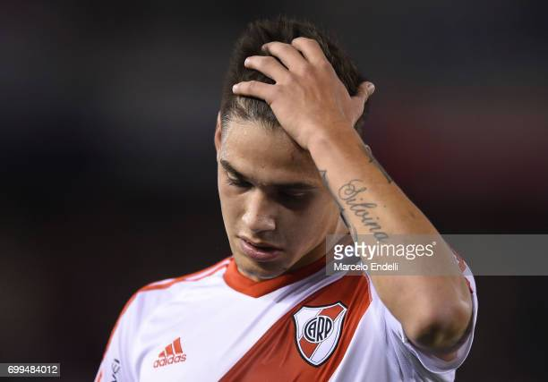 Lucas Martinez Quarta of River Plate gestures during a match between River Plate and Aldosivi as part of Torneo Primera Division 2016/17 at...