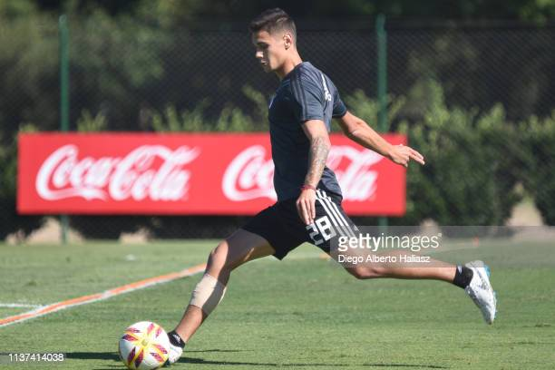 Lucas Martinez Quarta of River Plate kicks the ball during a training session at River Camp Ezeiza on March 21 2019 in Buenos Aires Argentina