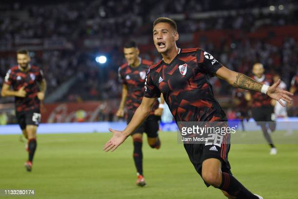 Lucas Martrinez Quarta of River Plate celebrates after scoring the first goal of his team during a match between River Plate and Newell's Old Boys as...